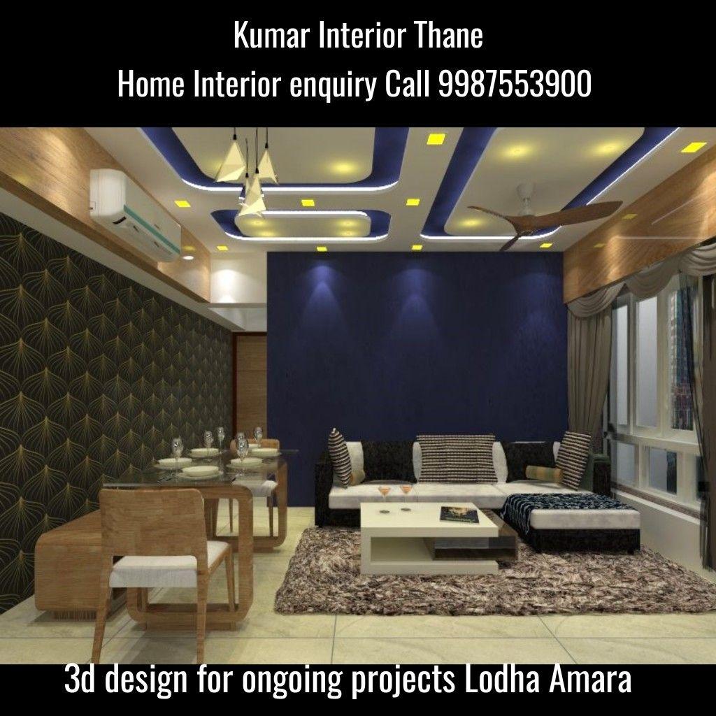 3bhk interior project Lodha Amara Thane by Kumar interior