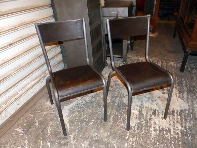 lot de 2 chaises industrielle MILCA 1960 vintage deco Pinterest