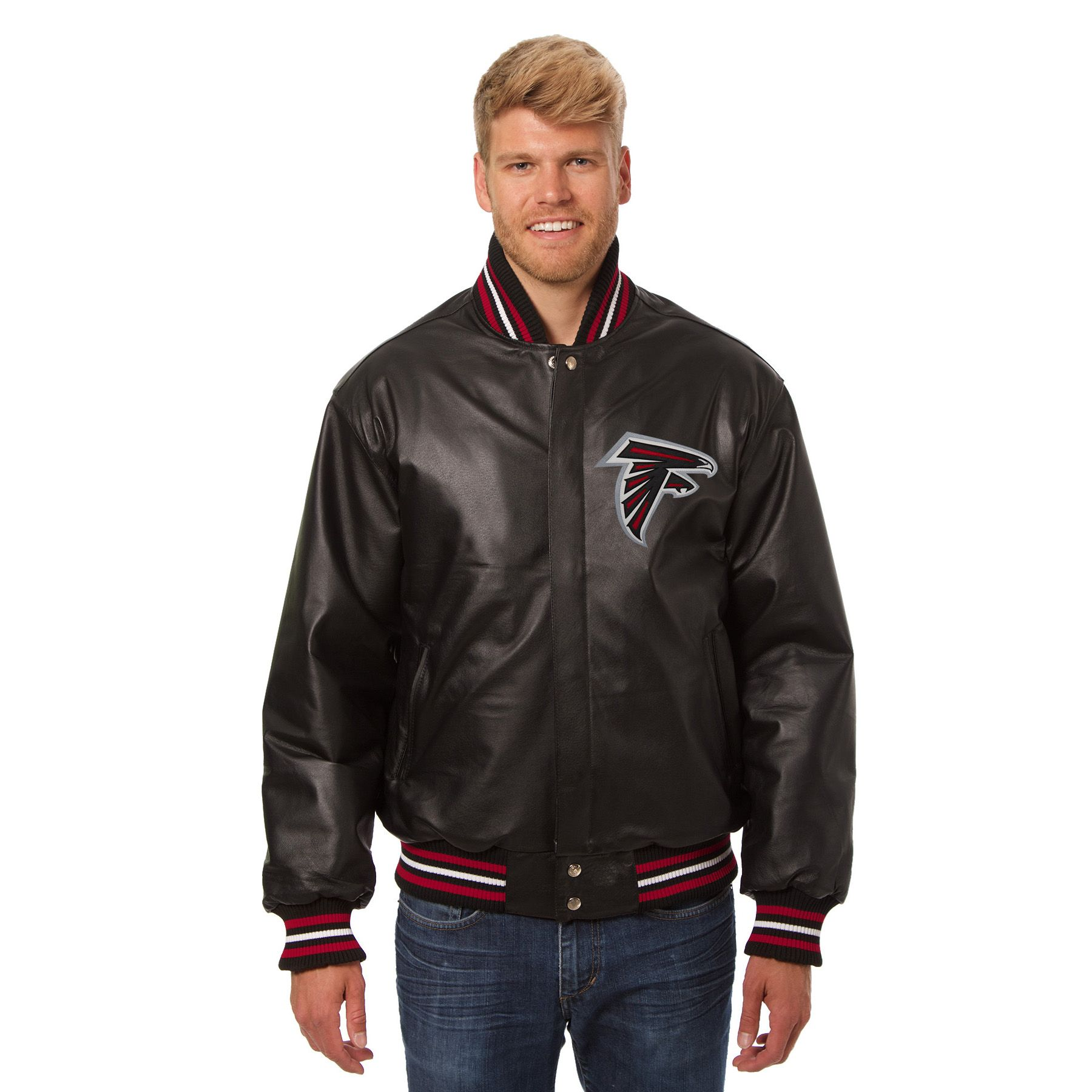 Nfl Atlanta Falcons Jh Design Leather Jacket Black Leather Jacket Black Leather Varsity Jackets Jackets