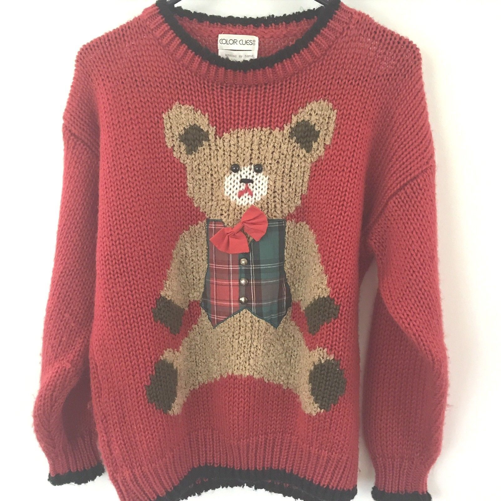 Red Teddy Bear Knit Christmas Sweater Size Med. Plaid Vest Red Bow 3 ...