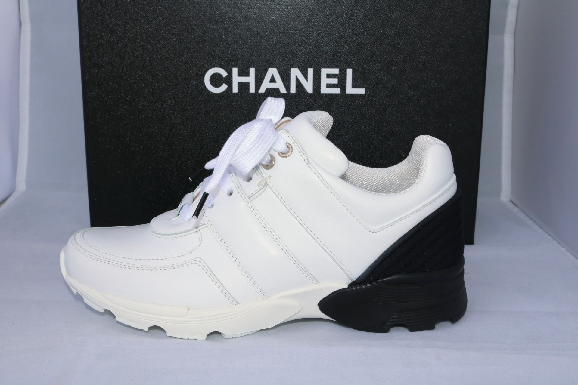 86c0f13d6dddb Chanel 2016 Cc Logo Black Leather Mesh Sneakers Tennis Trainers 36.5 White  Athletic Shoes. Get the must-have athletic shoes of this season!