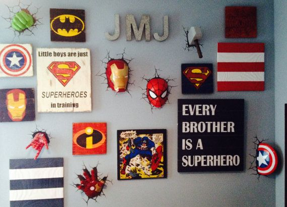 Superhero Sign 11 Superhero Wall Art Boys Bedroom Decor