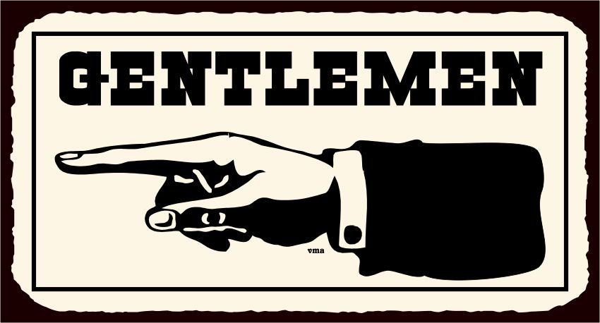 Gentlemen To Left Vintage Western Metal Toilet Bathroom Tin Sign   Click  Image To Close