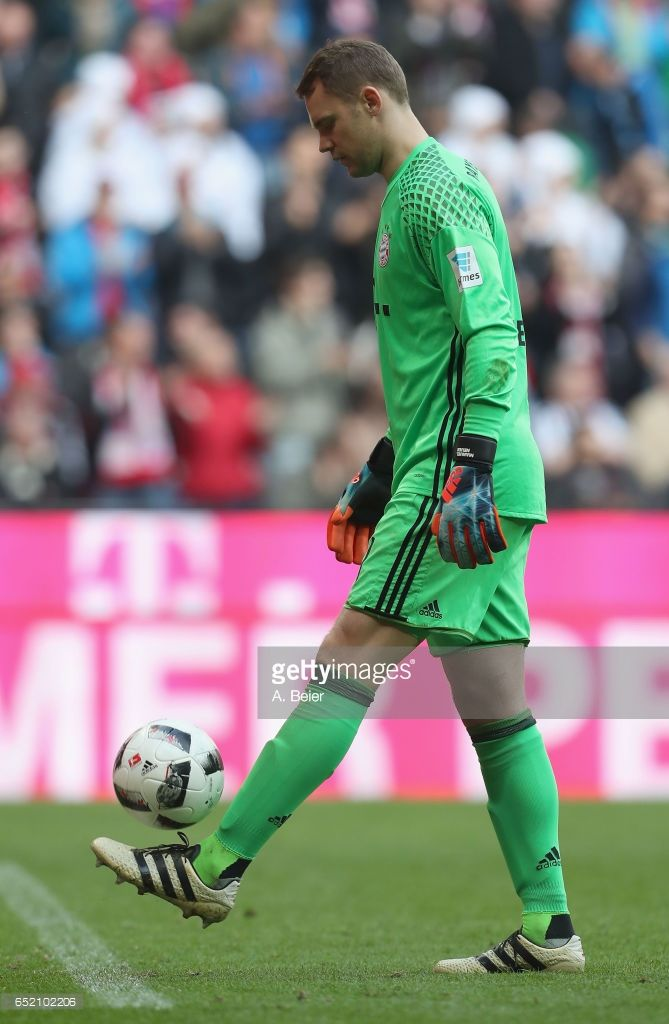 Goalkeeper Manuel Neuer of FC Bayern Muenchen is pictured during the Bundesliga match between Bayern Muenchen and Eintracht Frankfurt at Allianz Arena on March 11, 2017 in Munich, Germany.