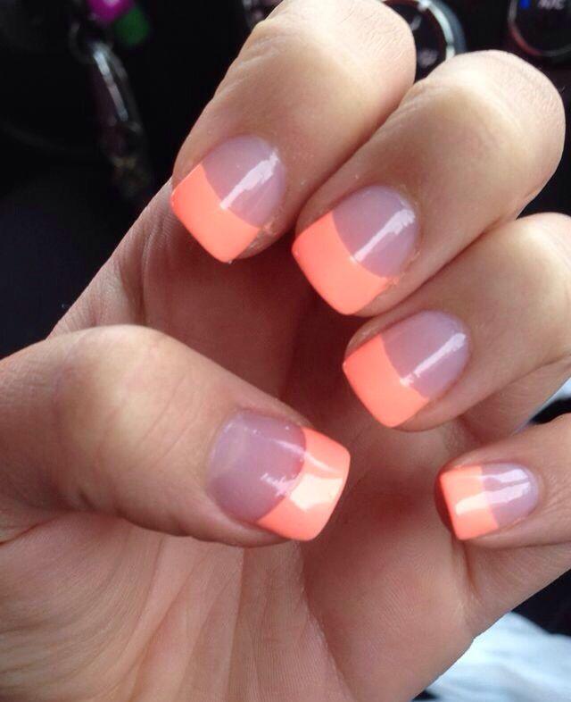 Acrylic Nails Peach Short Cute