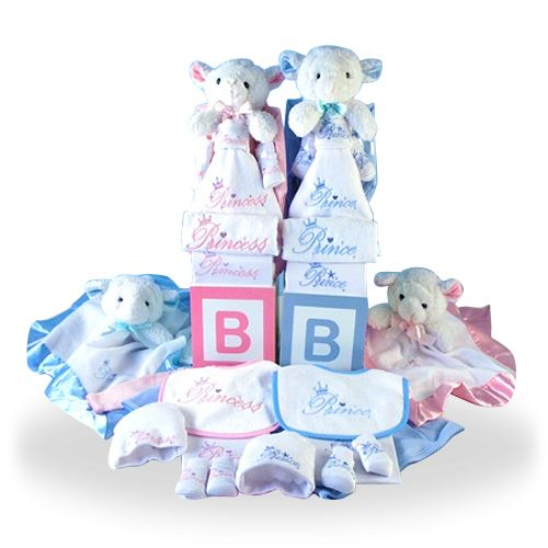Purely cotton gift basket for twins with cuddly lambs girl gifts purely cotton gift basket for twins with cuddly lambs giftbaskets4baby twins multiples negle Image collections