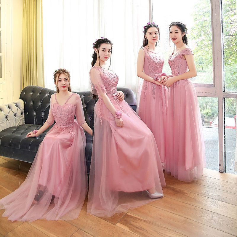F202 Bridesmaid dresses long design pink color mauve | Bridesmaid ...