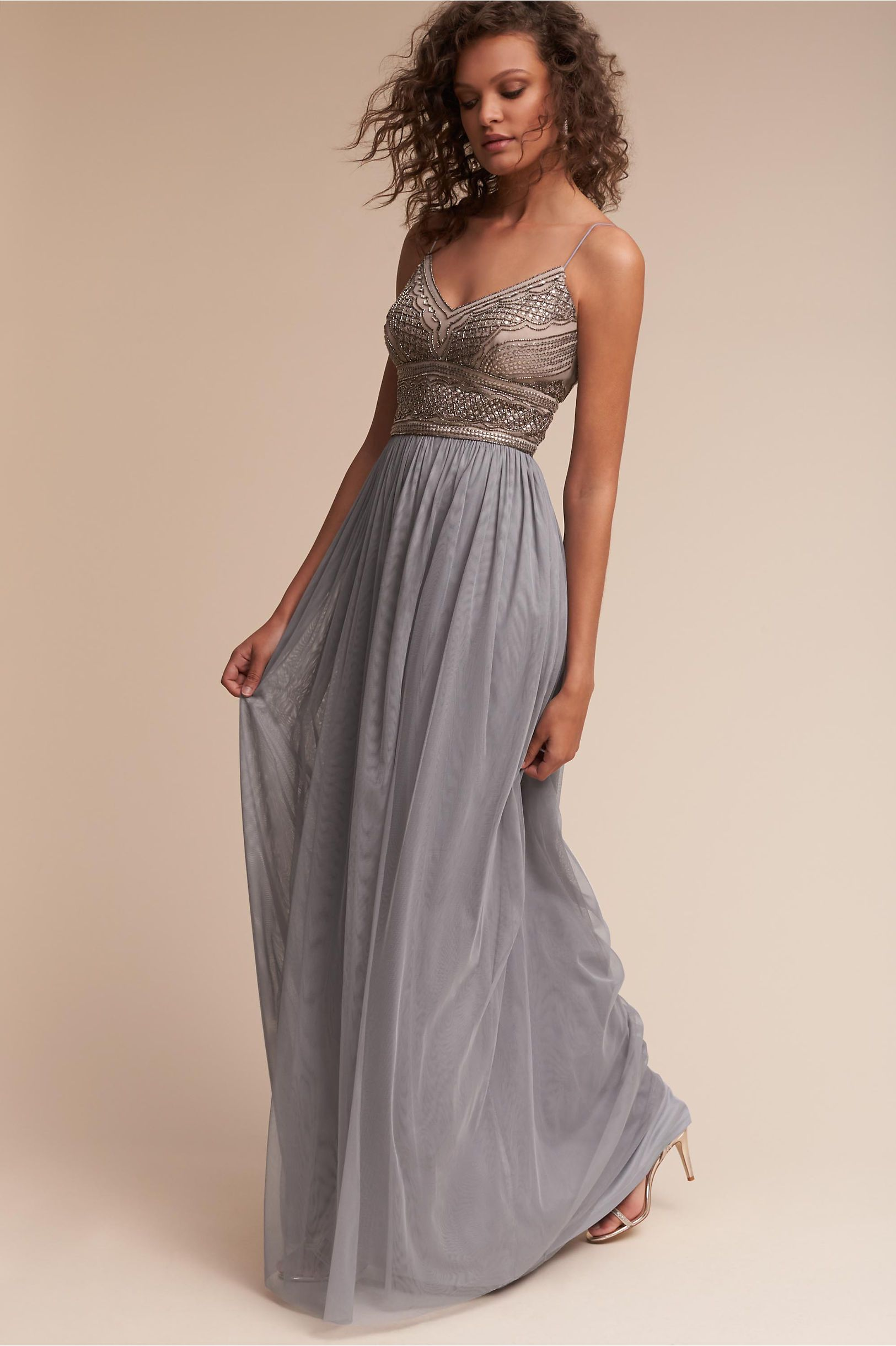 416132a543 BHLDN s Adrianna Papell Aida Dress in Silver Grey