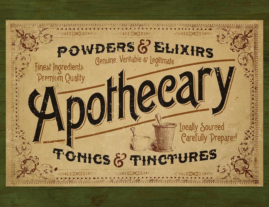 House Of Hesh One Victoria Era Style Apothecary Signage Poster Apothecary Vintage Typography Apothecary Labels