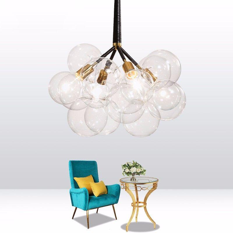 Photo of modern design luxury Creative LED e27 Bubble Ball Glass Art Chandelier for decorative home