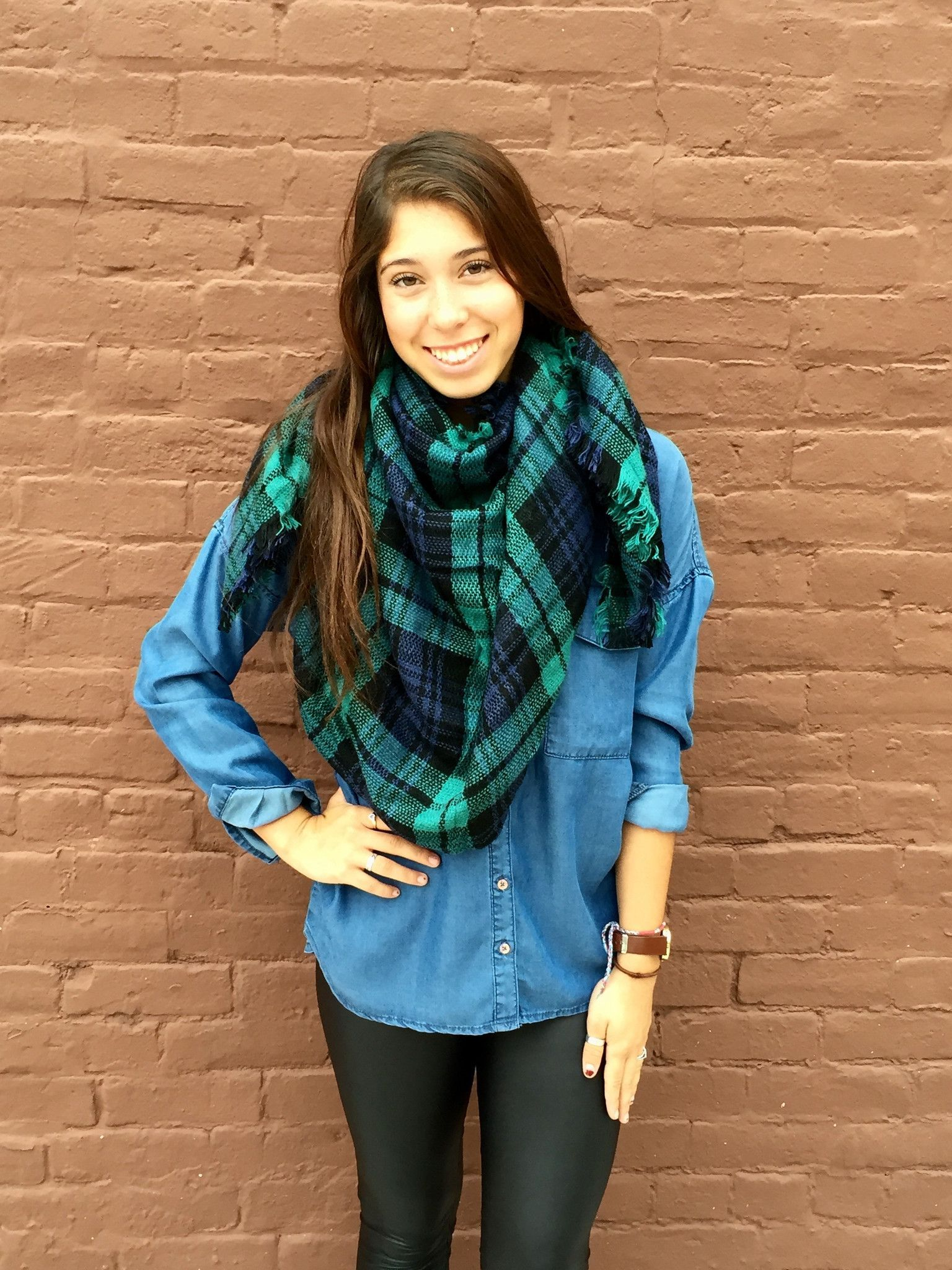 Falling Leaves Blanket Scarf- Blue from Shop Southern Roots TX