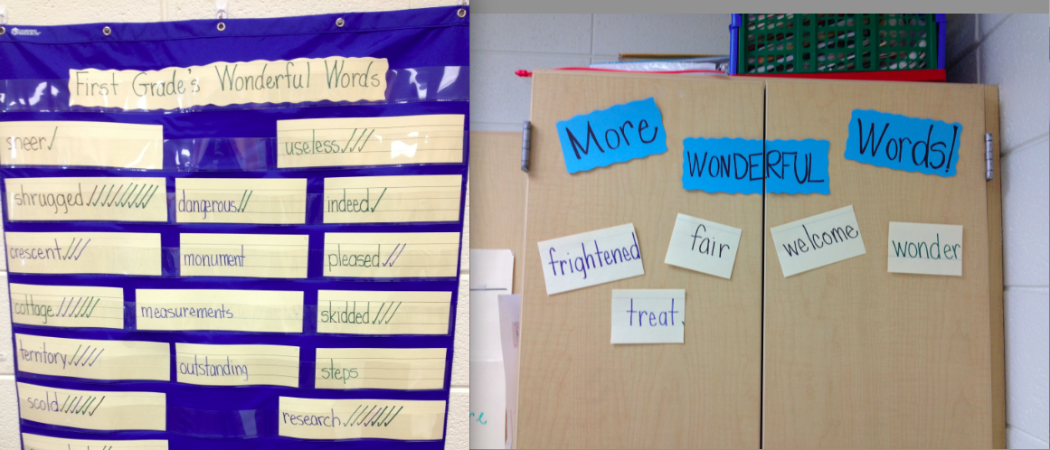 """Vocab Word Wall - after introducing new vocab during reading groups, the words get added to the wall. We check off every time a student uses the word in speaking or writing. When a word has  10 checks, we retire it to the """"More Wonderful Words"""" list. That way the words are still visible, but new words can be added to the pocket chart. They love the little """"check cutting"""" ceremony we do when a word reaches 10 checks!"""