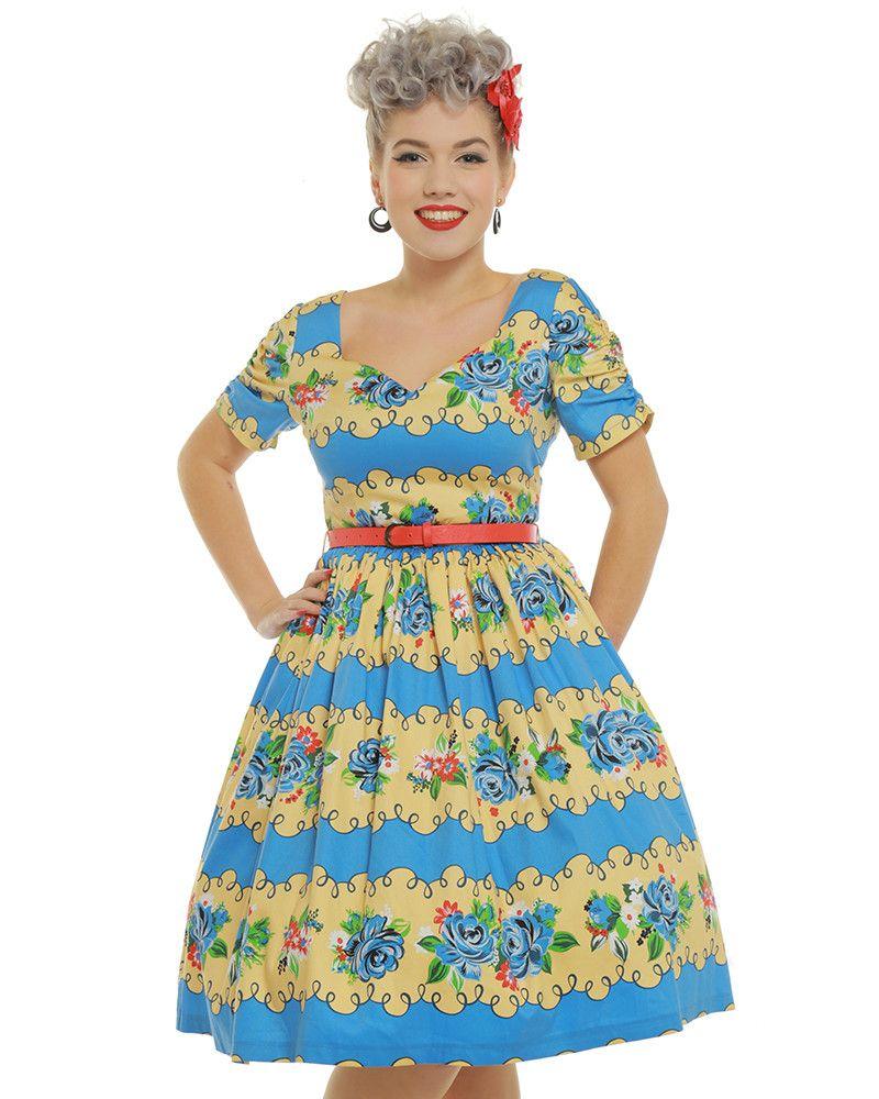842e3b57559c 'Francine' Blue Rose Stripe Swing Dress - Swing Dresses - Dresses - Clothing.  '