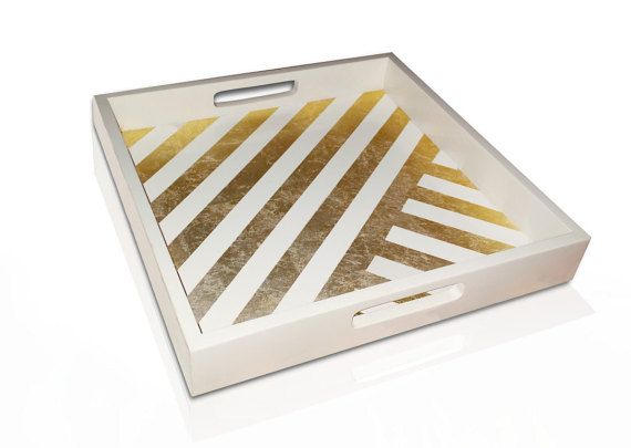 White Decorative Tray Alluring White Tray With Gold Leaf Stripes Decorative Tray White Home Design Decoration