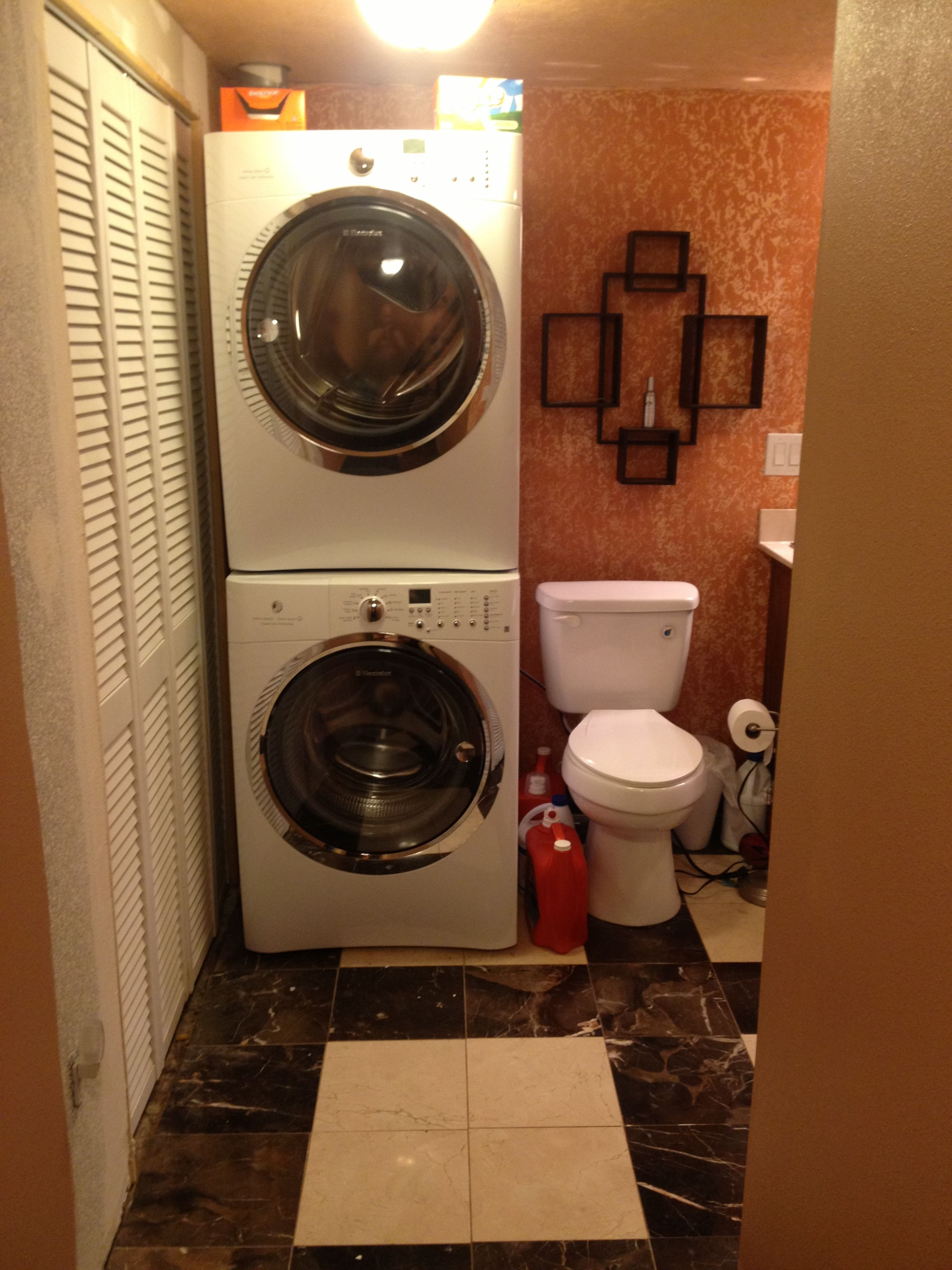7 X 14 Bathroom Marble Floors Stack Washer And Dryer