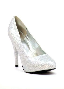 """Silver Prom shoes with 4.5"""" heels with 1"""" platform (style 300-9)"""