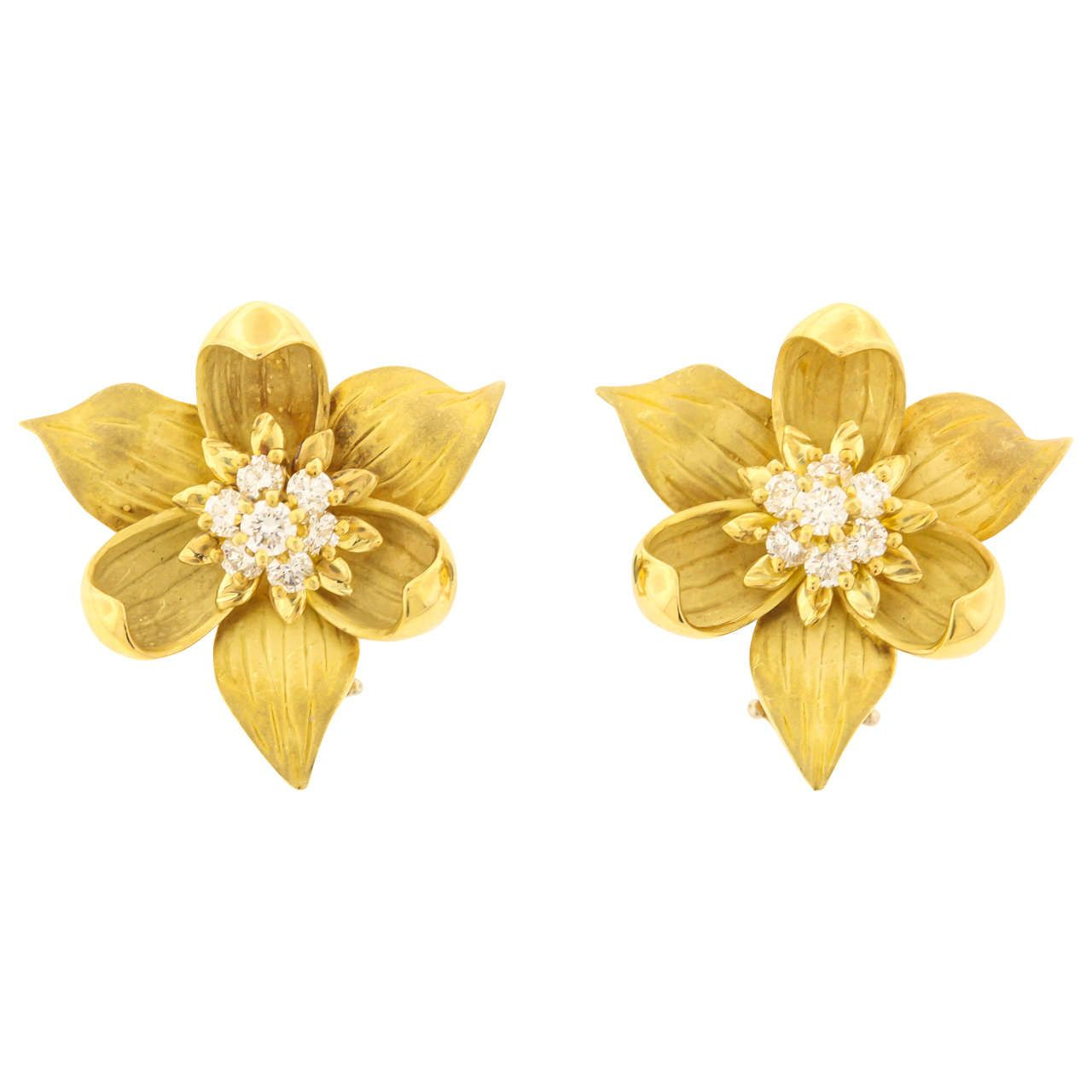 b892d6356f1 Tiffany  amp  Co. Diamond Gold Trillium Earrings