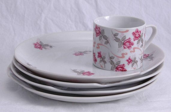 Vintage Luncheon Set For 4 English Red Pink Rose White China