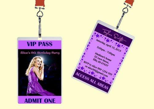 Taylor Swift Vip Passes Badge Birthday Invitation Diy Printable Taylor Swift Birthday Invitations Birthday Invitations Diy Rock Star Party