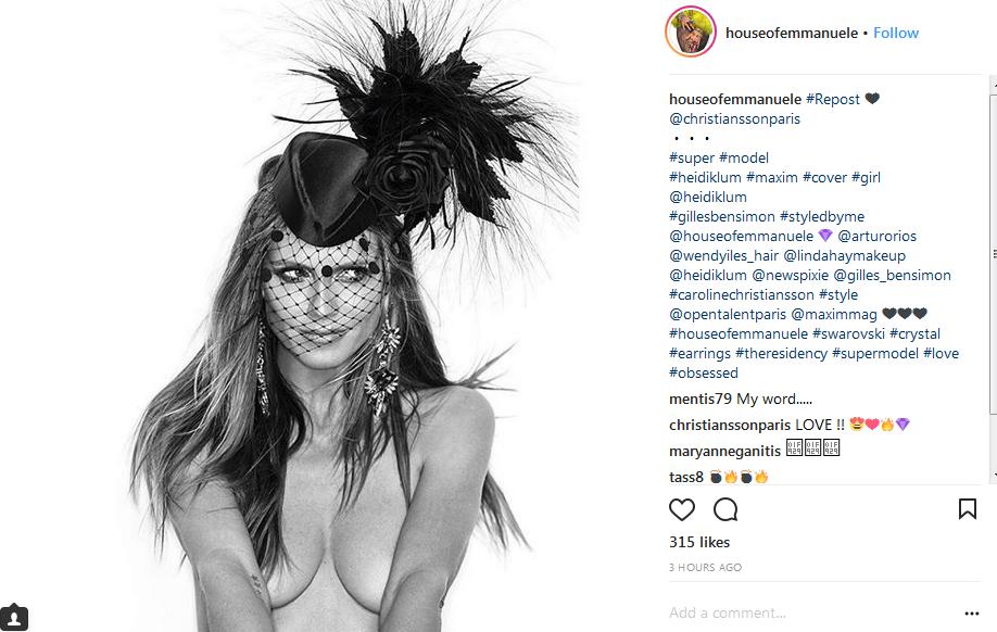 4737670b45d1 Heidi Klum wearing House of Emmanuele earrings in latest issue of Maxim  Magazine