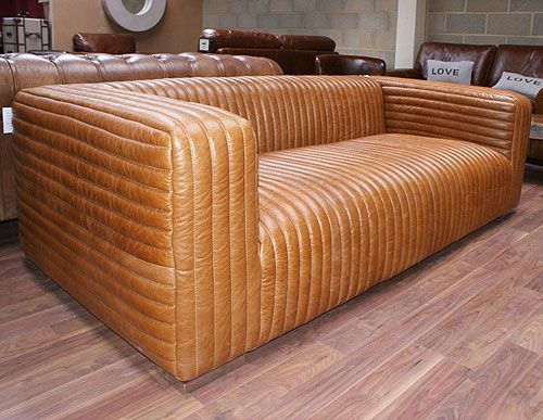 Vintage Style Ribbed Leather Sofa Large 3 Seater Leather Modular Sofa Leather Sofa Furniture Fix