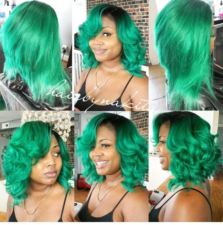 Green bob curled straight lace closure sew in (With images ...