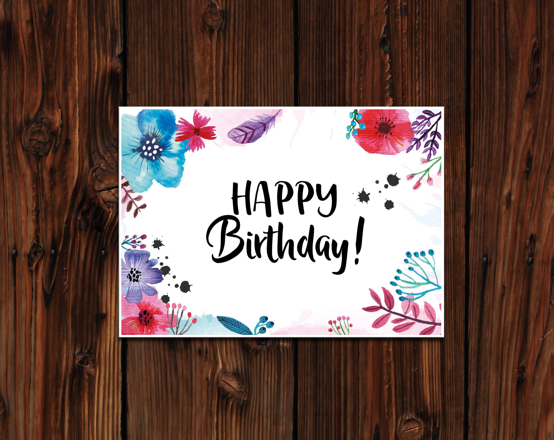 geburtstagskarte postkarte happy birthday birthday post card watercolor flower aquarell. Black Bedroom Furniture Sets. Home Design Ideas