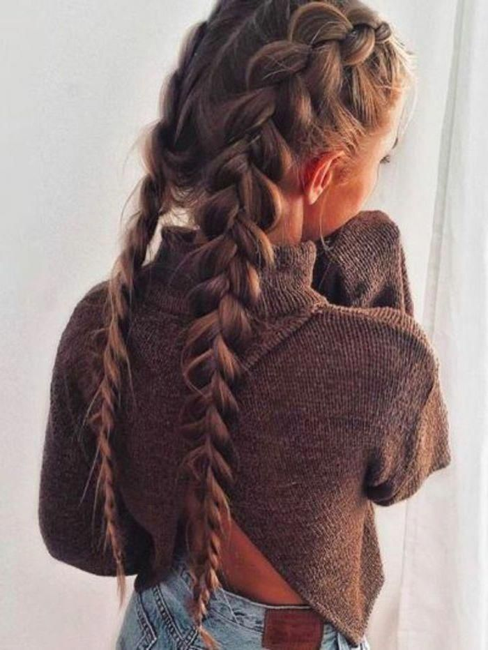 Braid Hairstyles For Long Hair Brown Hair Two Side Braids Brown Sweater Blue Jeans Longhaircurls Thick Hair Styles Braids For Long Hair Long Hair Styles