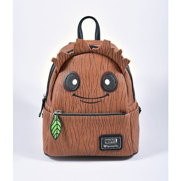 d0f1f09e62 Loungefly Brown Leatherette Groot Mini Backpack ( 68) ❤ liked on Polyvore  featuring bags