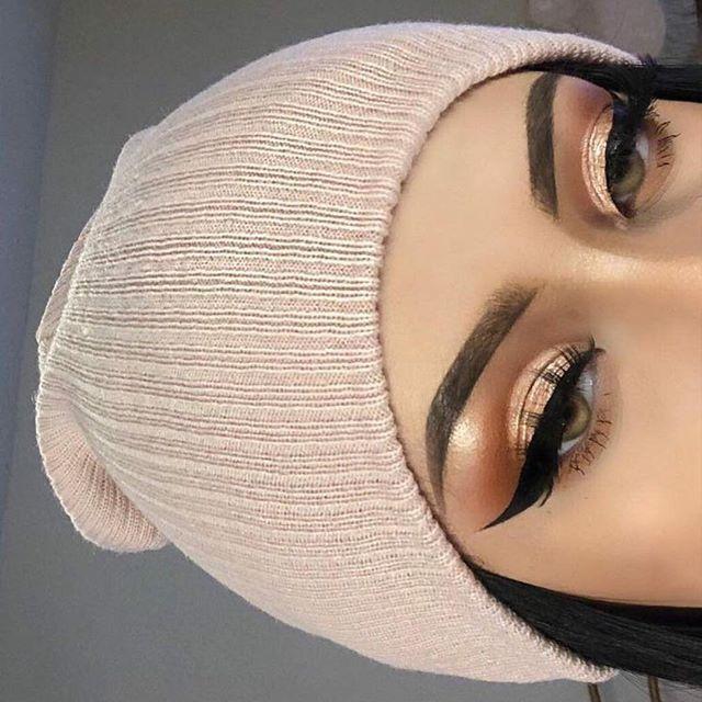 Copper rose gold metallic eye makeup