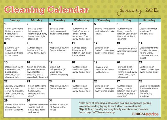 Free printable cleaning calendar - simplifies cleaning down to ...