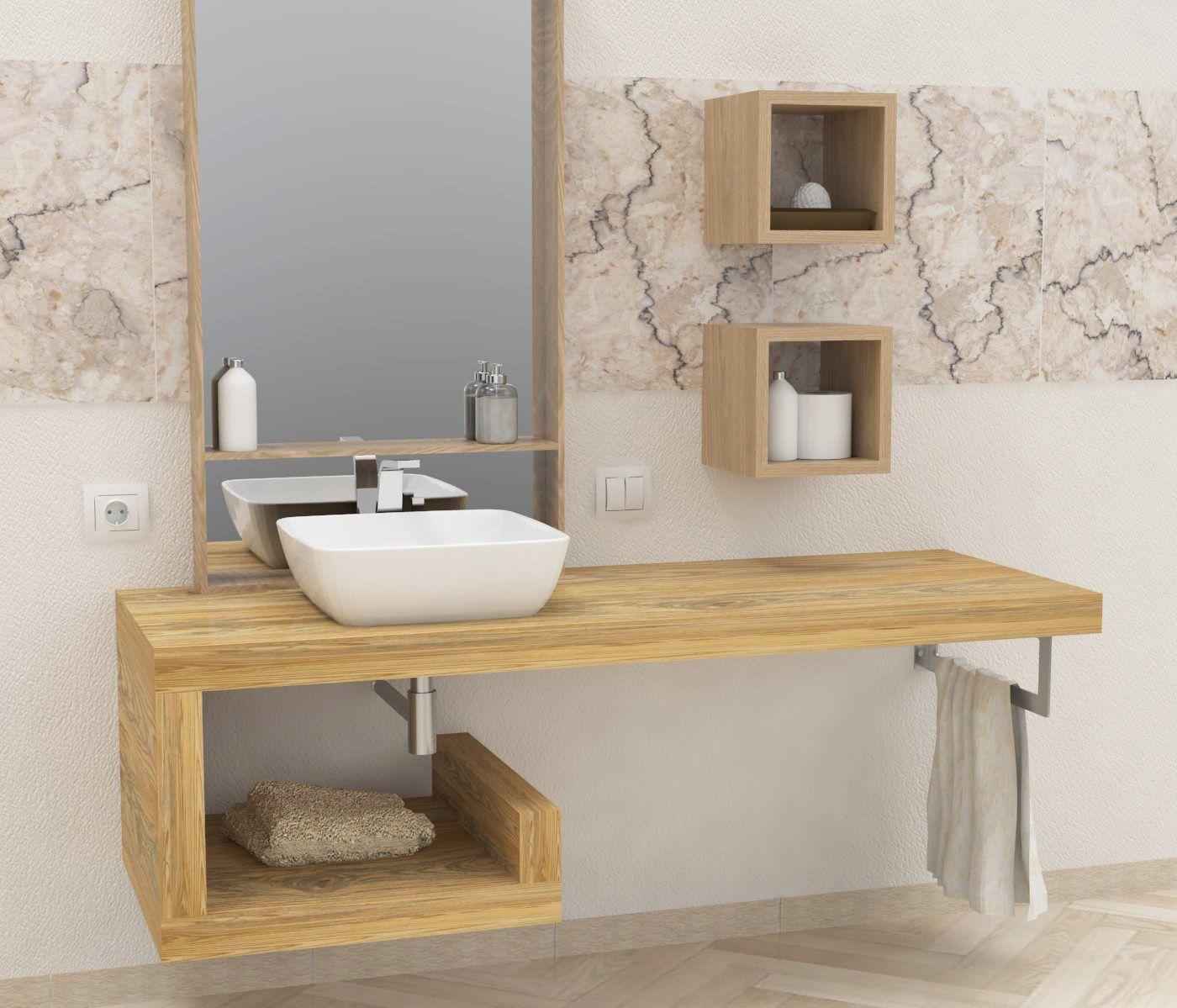 Mensole per bagno mensole lavabo in legno massello su misura profondit da 40 a 60 cm - Legno per bagno ...