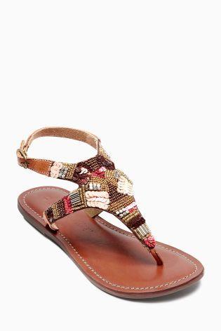 d96ecb06912d52 Tan Embellished Sandals (Older Girls) Embellished Sandals