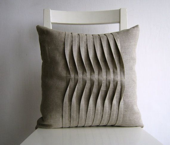 Pleated Natural Color 16 X 16 Linen Cushion Cover Etsy Linen Cushion Pillows Cushion Pillow Covers