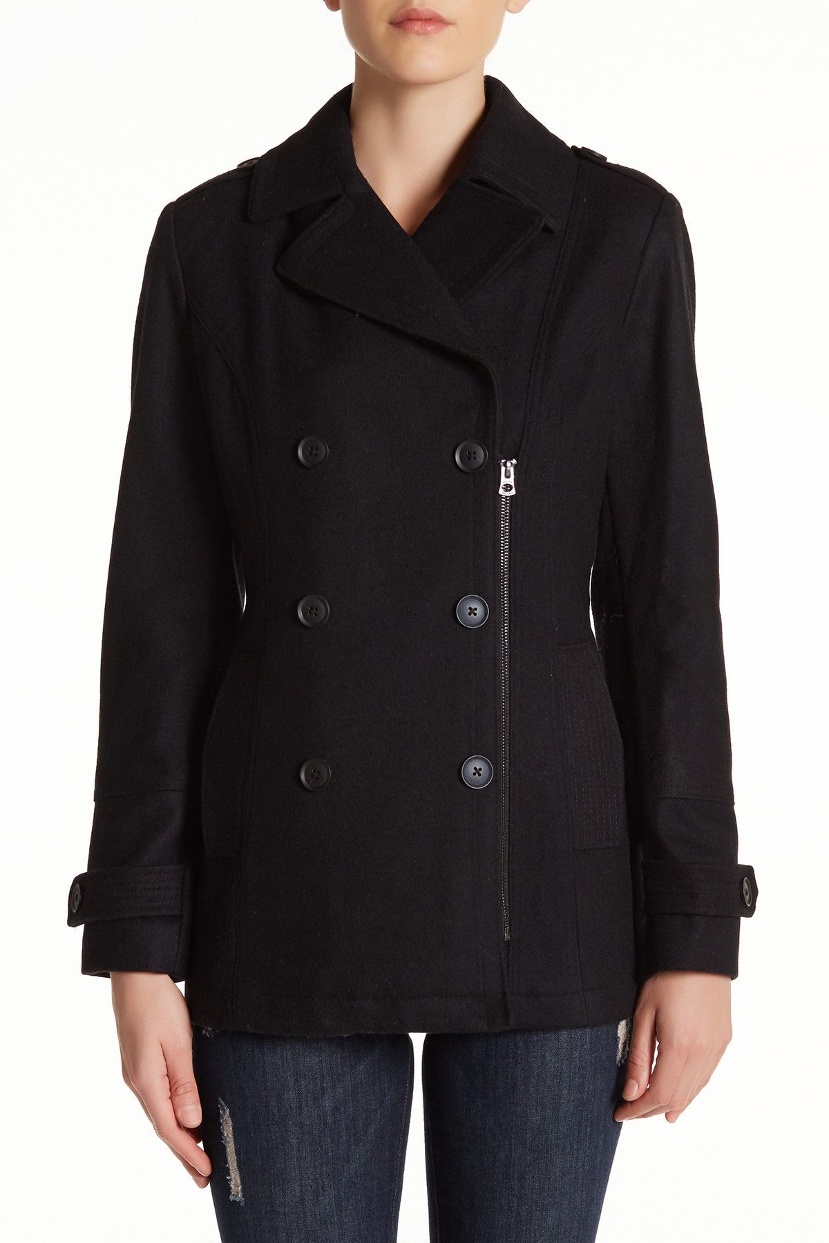 Zip Front Wool Blend Peacoat by Lucky Brand on @nordstrom_rack