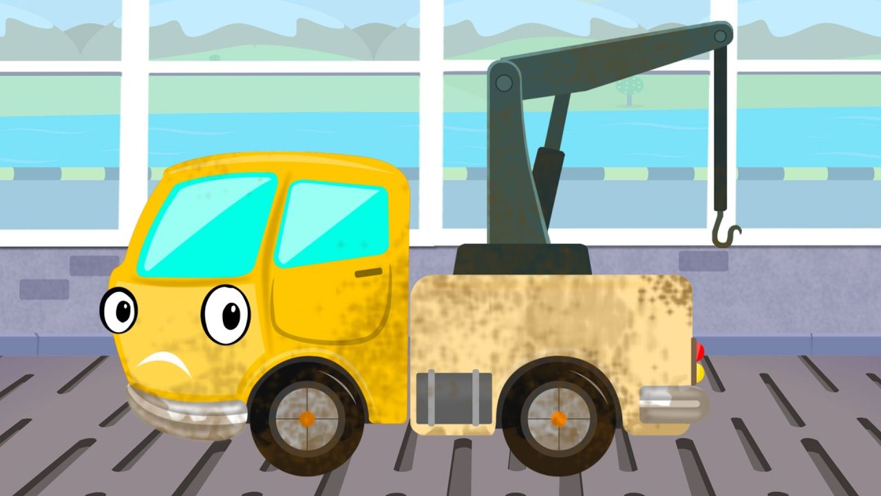 tow truck car wash game video for kids trucks cartoon