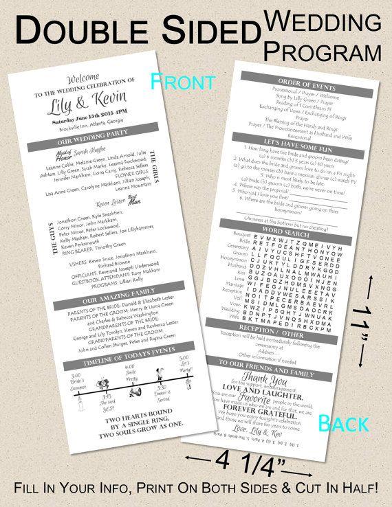 Wedding Program Template 5x8 2 Sided Boho Wedding Etsy Wedding Programs Wedding Day Itinerary Wedding Programs Template
