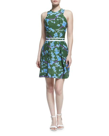 CARVEN Sleeveless Floral Structured Dress, Vert. #carven #cloth #