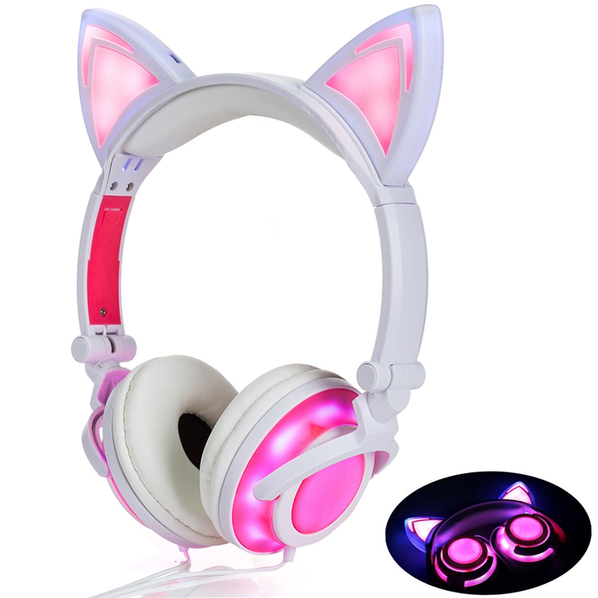 Cat Ear Headphones With Led Light On Glowing Led Light Button On The Back Of Cat Ear Foldable And Chargeable Suitabl Cute Headphones Headphones Cat Ear Headset