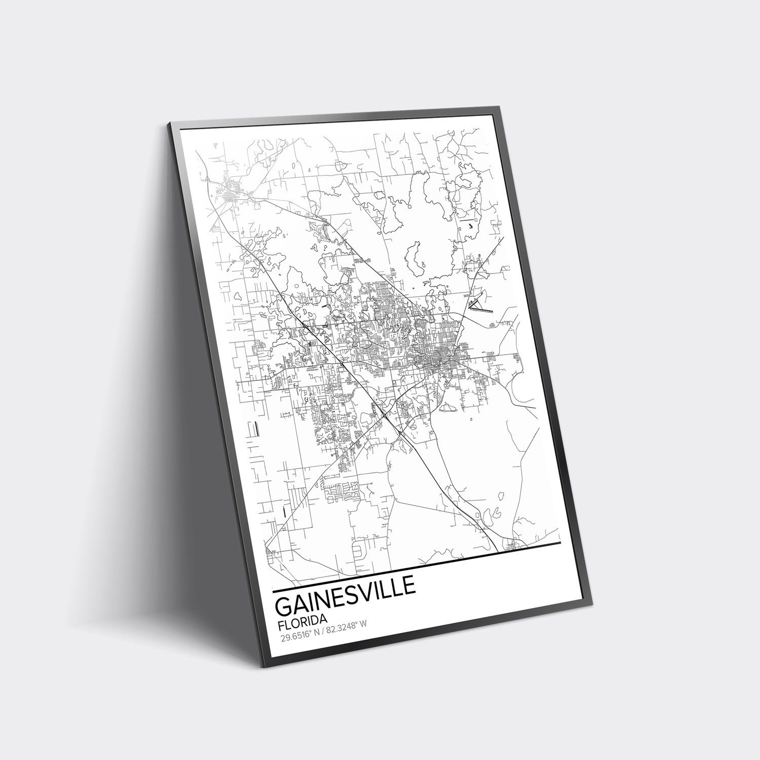 Gainesville Map Poster Print Wall Art, Florida Gift