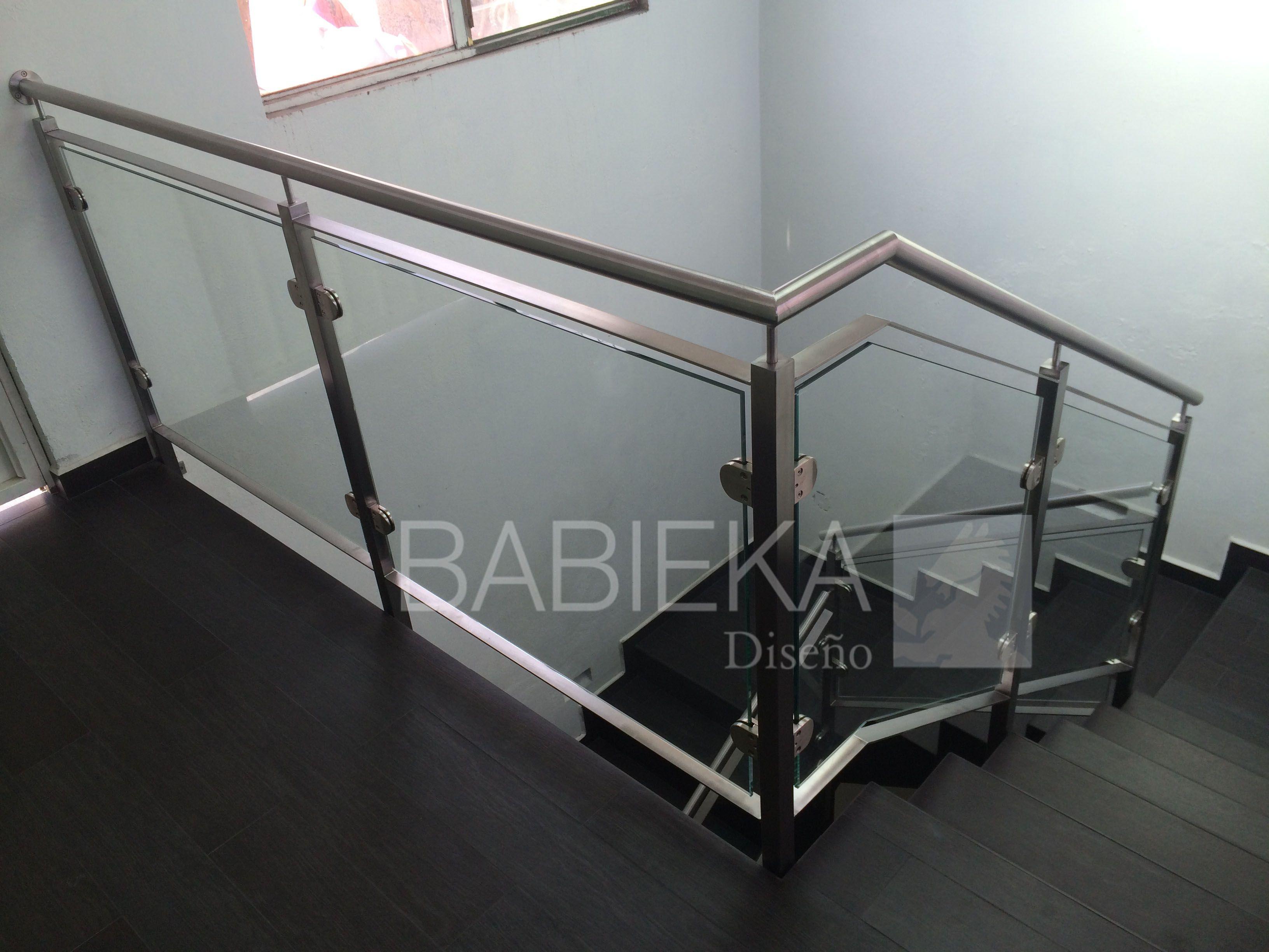 Barandal Con Acero Inoxidable En Dise O Con Terminado Cuadrado Y  ~ Barandillas De Cristal Para Escaleras Interiores