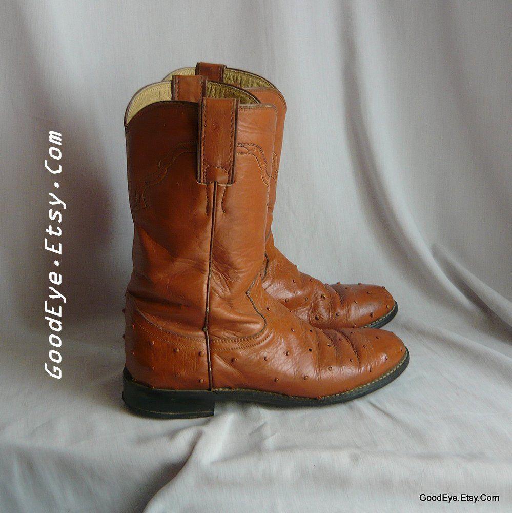 59557d28778 Vintage Justin ROPER Boots Ostrich Print / Women size 7 .5 Eu 38 Uk ...