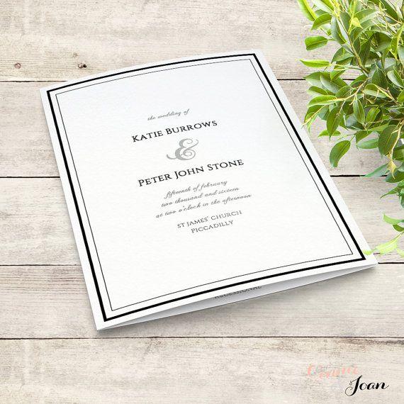 Printable Wedding Program Order Of Service Template Folded - Wedding invitation templates: wedding order of service template