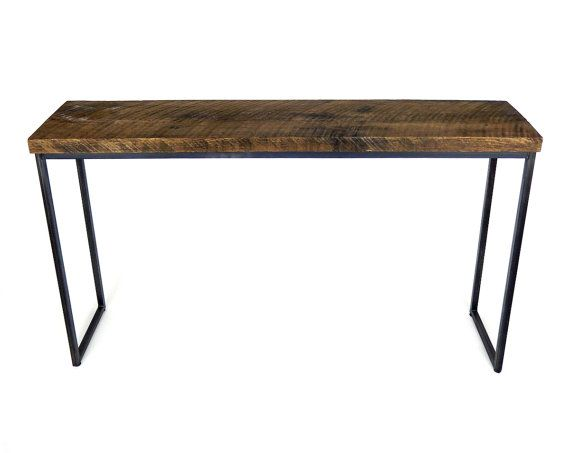 hand crafted bar table reclaimed barn board wood tall high table steel base legs metal industrial