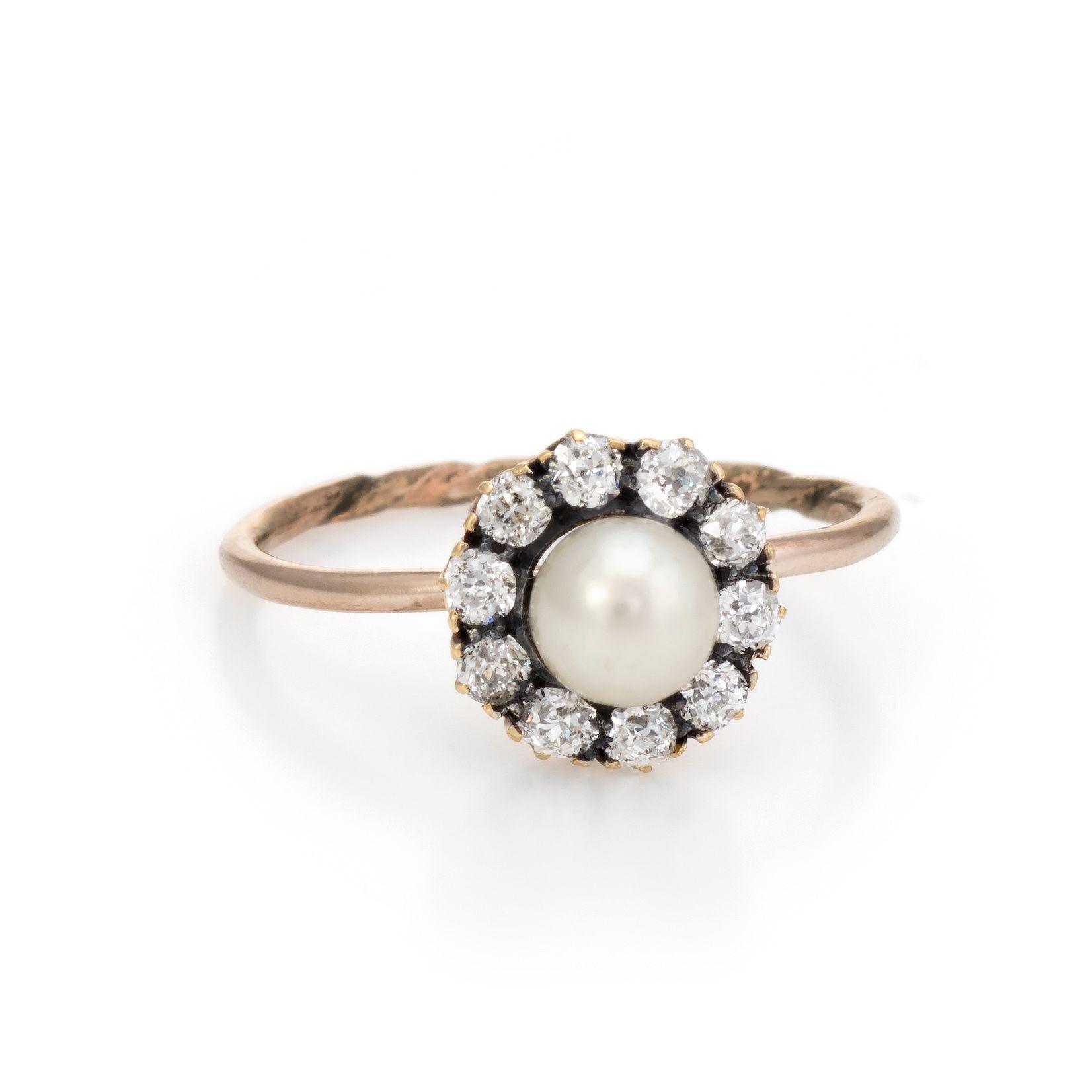Antique Victorian Diamond Pearl Conversion Ring Halo 10 Karat Gold Fine Jewelry 5 75 Jewelry Halo Diamond Ring Fine Jewelry