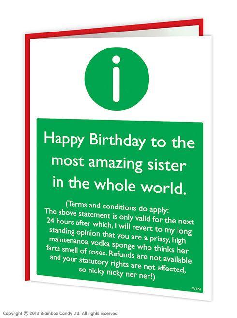 Sister T C S Birthday Card Funny Birthday Cards Birthday Card Sayings Birthday Cards