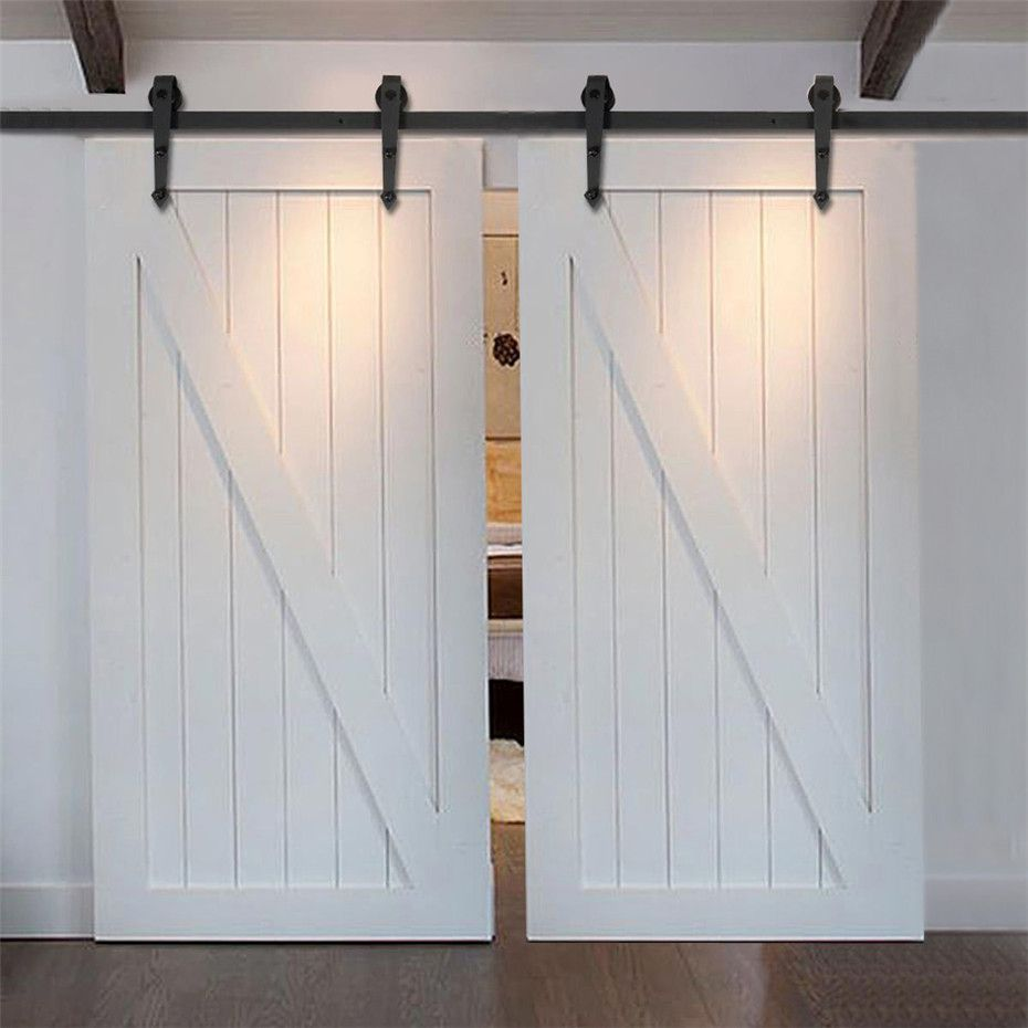 5 Ft 16 Ft Unique Style Carbon Steel European Modern Wood High Decoration Sliding Barn Double Door Hard Ambarnaya Dver Vnutrennie Dveri Saraya Razdvizhnye Dveri
