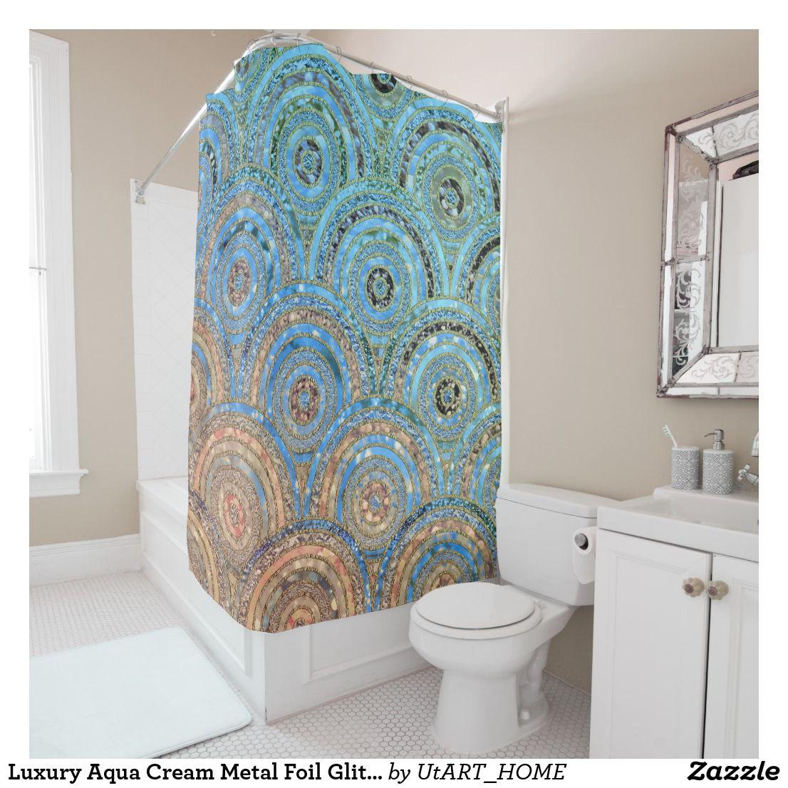 Luxury Aqua Cream Metal Foil Glitter Dots Circles Shower Curtain ...