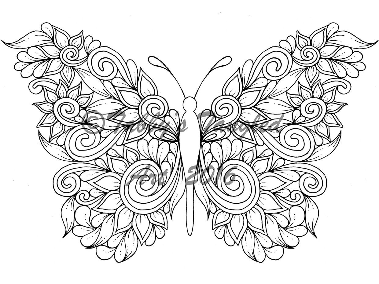 Tangled Butterflies Coloring Pack (6 NEW pages PDF