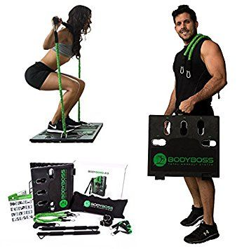 Beau BodyBoss Home Gym 2.0   Full Portable Gym Home Workout Package + Set Of  Resistance Bands